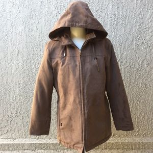 London Fog Brown Suede Hooded Coat size L